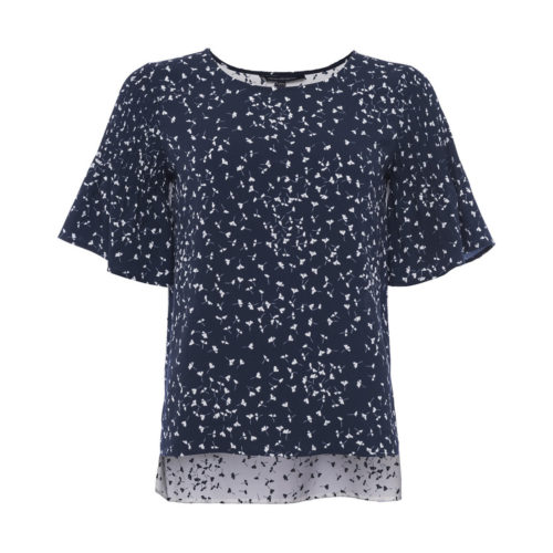 French Connection Blouse Crew neck Short sleeves women's Blouse in Blue. Sizes available:EU S,EU M,EU L,UK XS