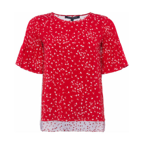 French Connection Blouse Crew neck Short sleeves women's Blouse in Red. Sizes available:EU S,EU L,UK XS,UK XL