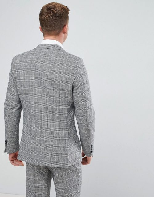 French Connection Prince Of Wales Blue Check Slim fit Suit Jacket-Grey