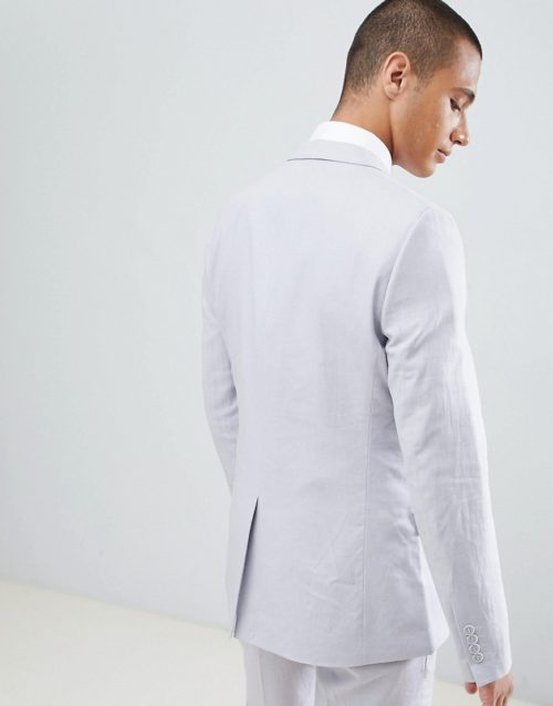 French Connection Wedding Linen Slim Fit Suit Jacket-Grey
