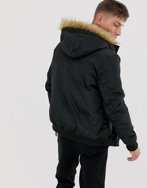 French Connection faux fur hood flight jacket-Black