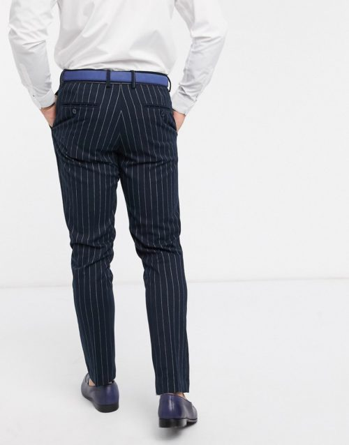 French Connection flannel chalk stripe slim fit suit trousers-Navy