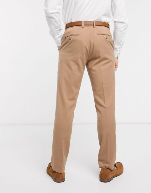 French Connection wedding slim fit flannel suit trousers-Beige
