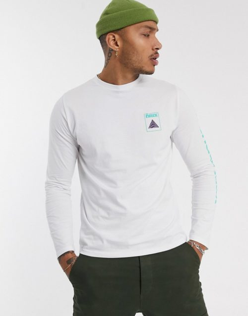Friend or Faux trig back print graphic long sleeve t-shirt-White