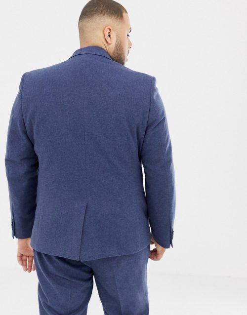 Gianni Feraud Plus slim fit wool blend heritage donnegal suit jacket-Navy