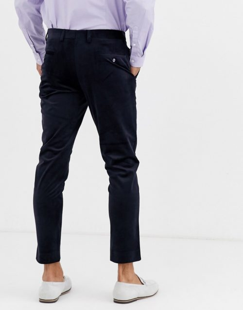 Gianni Feraud Skinny Fit Velvet Cropped Suit Trousers-Navy