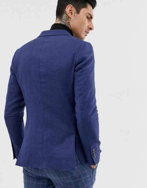 Gianni Feraud double breasted slim fit linen blend jacket-Navy