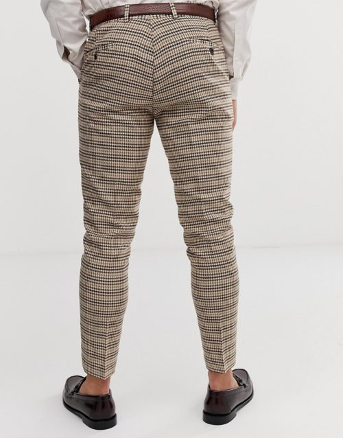 Gianni Feraud skinny fit dog tooth check suit trousers-Brown