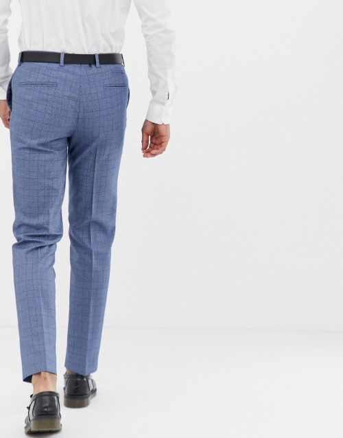 Harry Brown Blue And Rust Check Slim Fit Suit Trousers