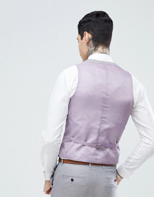 Harry Brown Lilac Puppy Tooth Wedding Skinny Fit Suit Waistcoat-Purple