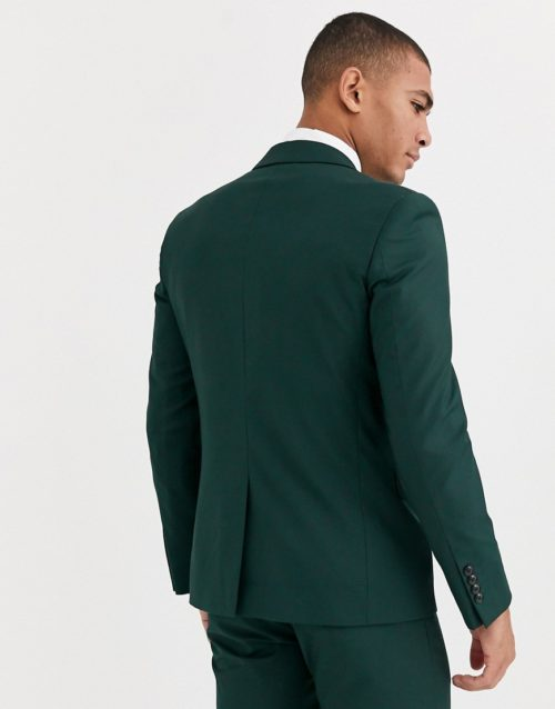 Harry Brown skinny fit stretch plain suit jacket-Green