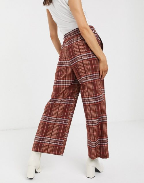 In Wear Jael check wide leg trousers co-ord-Brown