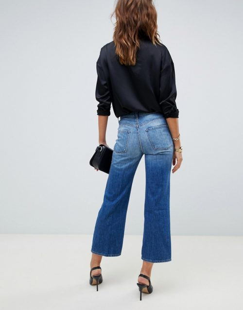 J Brand Joan high rise cropped wide leg jeans-Blue