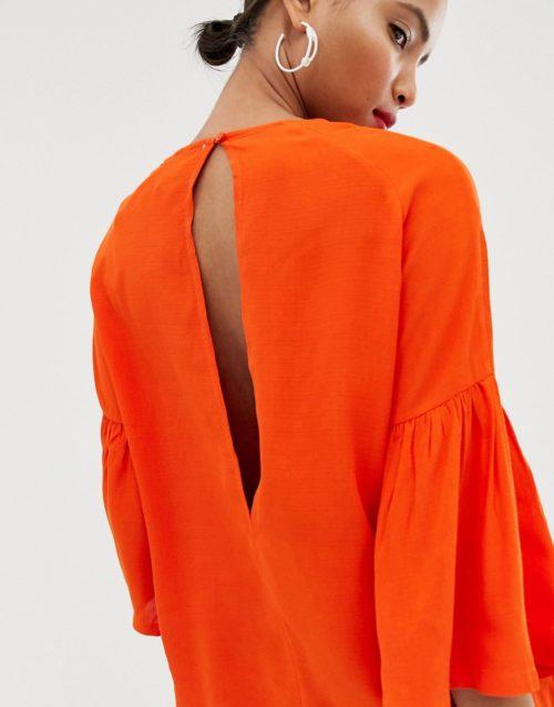 Just Female Garner Fluted Sleeve Blouse-Orange