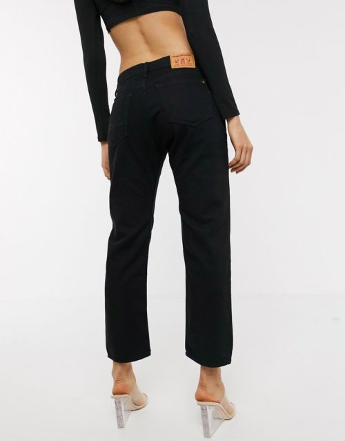 Kings of Indigo Anne straight leg jeans deconstructed in black
