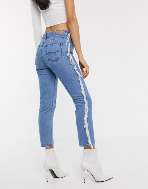 Kings of Indigo Kimberlie straight leg jeans cropped with fring light wash-No Colour