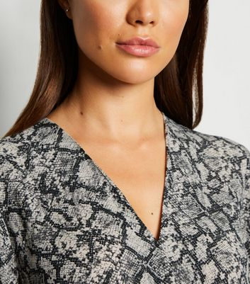 Light Grey Snake Print Wrap Blouse New Look