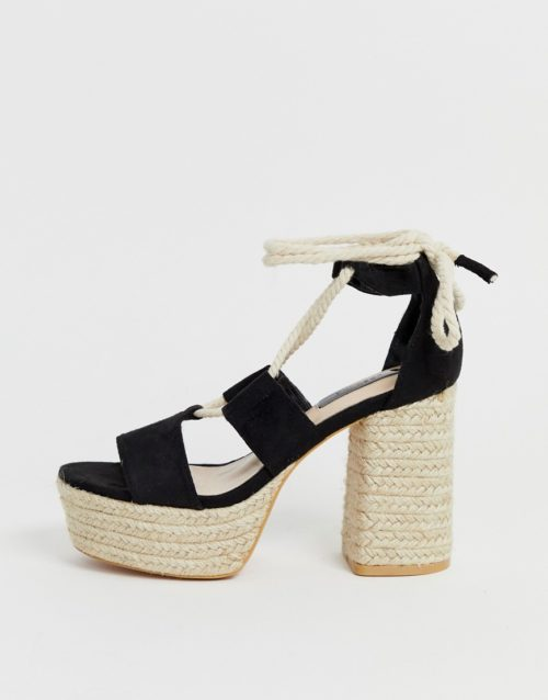 Lost Ink lace up espadrille platform heeled sandal in black