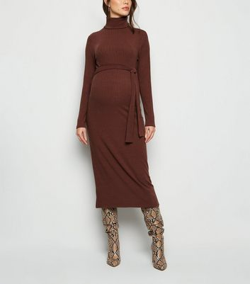 Maternity Dark Brown Ribbed Belted Midi Dress New Look