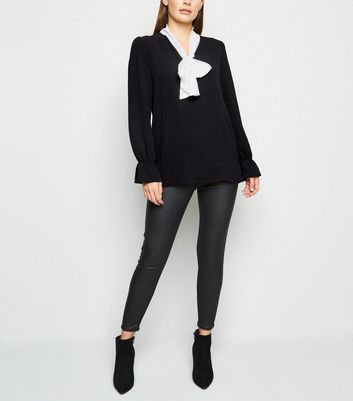 Mela Black Contrast Tie Neck Blouse New Look