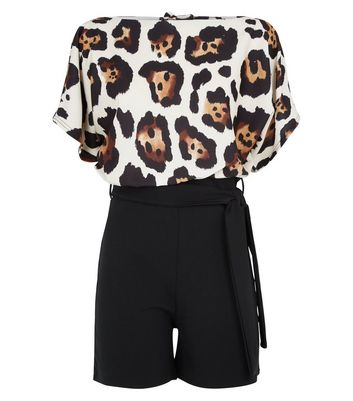 Missfiga Brown Leopard Print Batwing Playsuit New Look