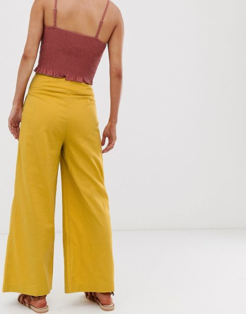 Moon River high rise wide leg trousers-Yellow