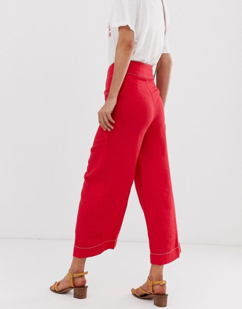 Moon River wide leg trousers with contrast stitching-Red