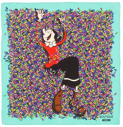 Moschino Boutique Olive Oyl Multi - Colour Scarf with Turquoise Border