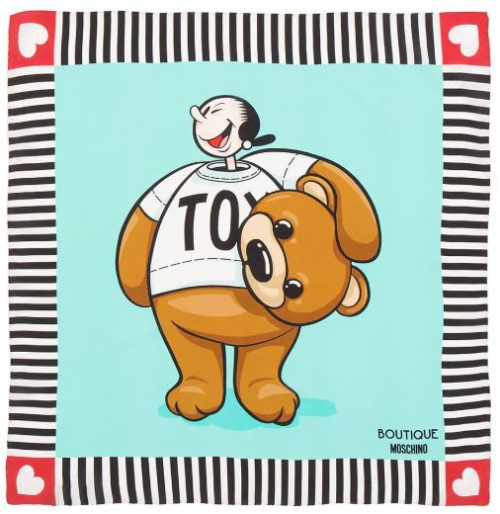 Moschino Boutique Olive Oyl as Toy Bear Scarf - Turquoise