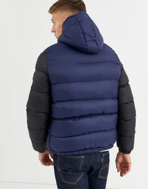 Native Youth sherpa lined puffer jacket-Navy