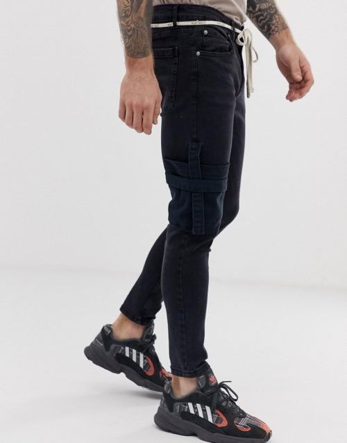 Night Addict skinny fit jeans with pockets and waist rope-Black