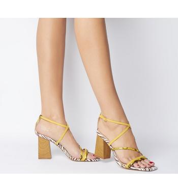 Office High Demand Strappy Upper Wood Heel YELLOW AND ZEBRA MIX