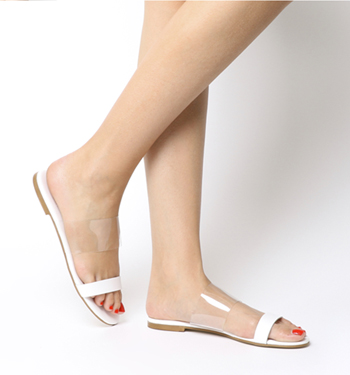 Office Sandy- Two Part Sandal WHITE LEATHER TRANSPARENT