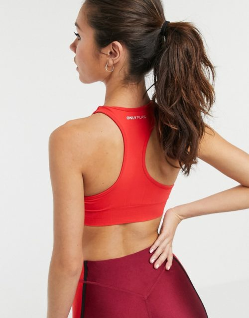 Only Play Daisy seamless sports bra in red