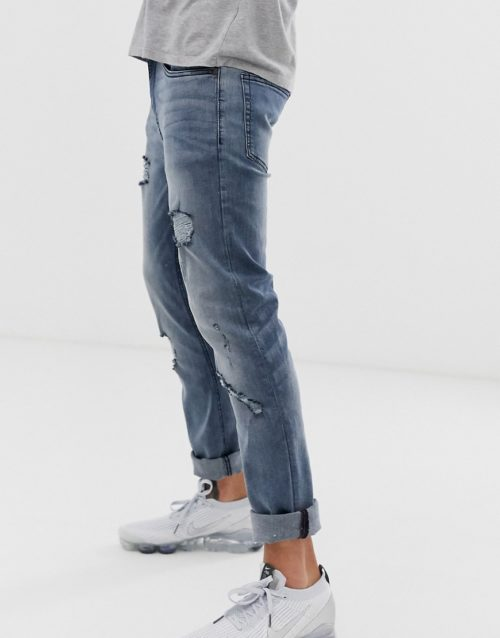 Ringspun super skinny fit distressed jeans-Blue