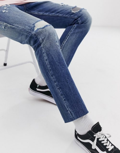 Scotch and Soda ralston regular slim fit rip and repair jeans-Blue