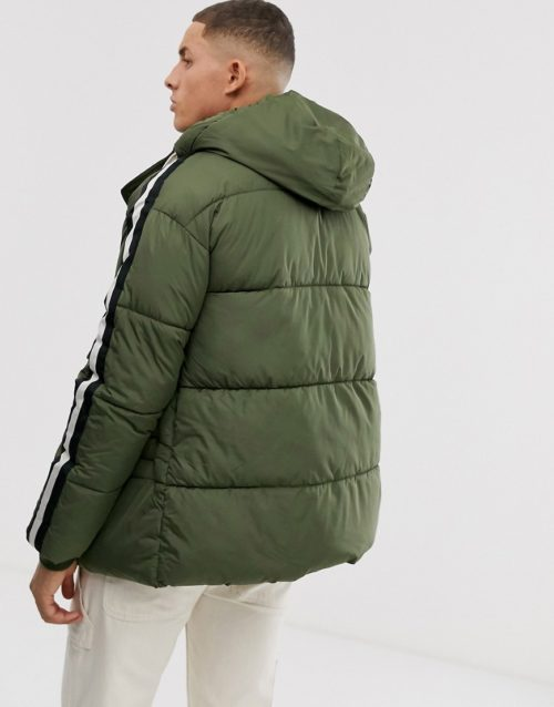 Sixth June hooded puffer jacket with faux fur hood-Green