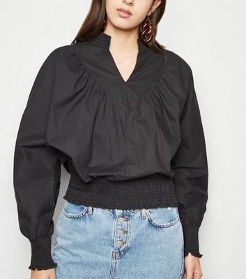 Urban Bliss Black Shirred Trim Blouse New Look