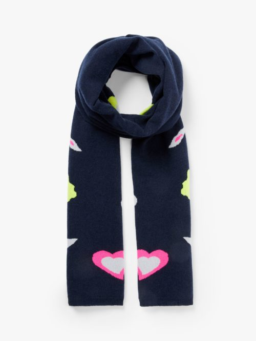 Wyse London Lola Wool and Cashmere Abstract Animal Print Scarf, Navy/Multi