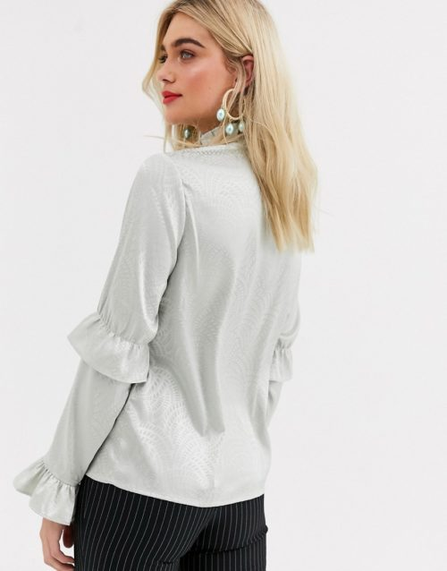 Y.A.S satin ruffle detail long sleeve blouse-Grey