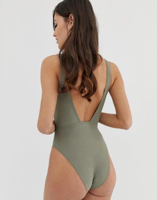 ASOS DESIGN Lieve high shine rib ring detail plunge thong back bodysuit-Green