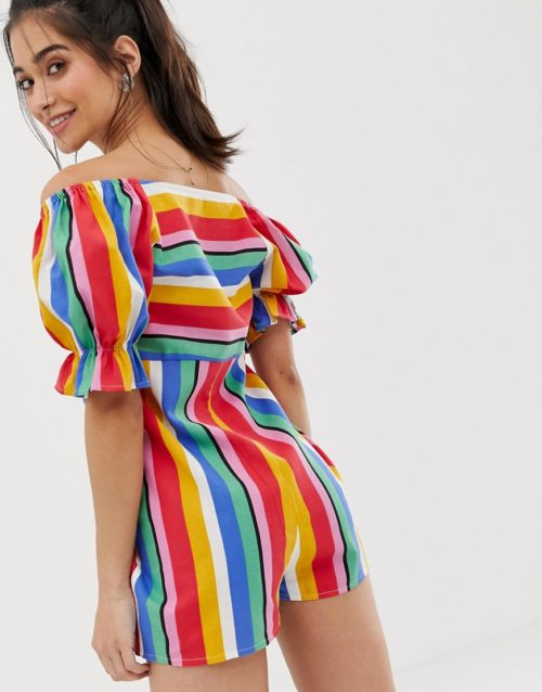 ASOS DESIGN Petite playsuit with puff sleeve and tie detail in rainbow stripe-Multi
