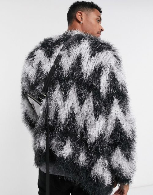ASOS DESIGN oversized fluffy cardigan in black and white