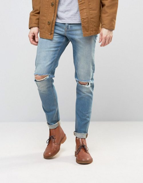 ASOS DESIGN skinny jeans with knee rips in 12.5oz light blue