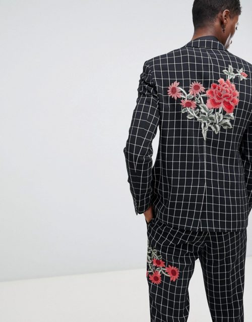 ASOS DESIGN skinny suit jacket in black and white check with embroidery