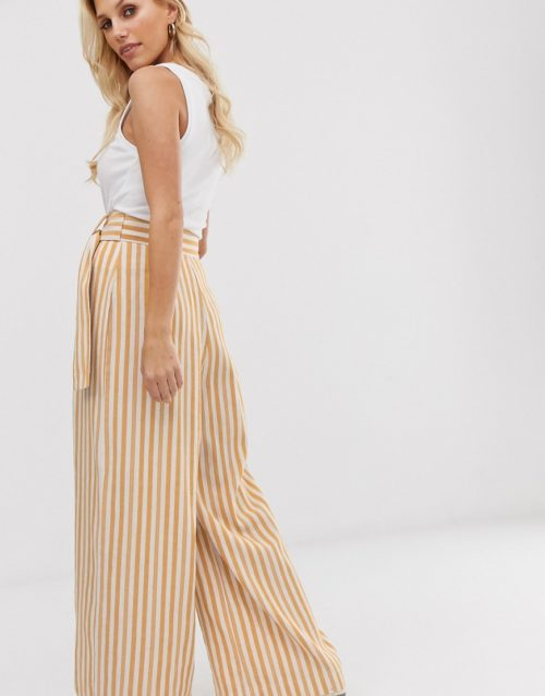 ASOS DESIGN stripe wide leg trousers with coconut effect trim-Multi