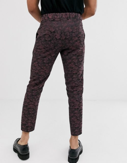 ASOS EDITION tapered crop smart trousers in pink and purple floral jacquard