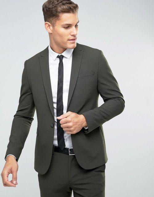 ASOS Skinny Suit Jacket In Khaki-Green
