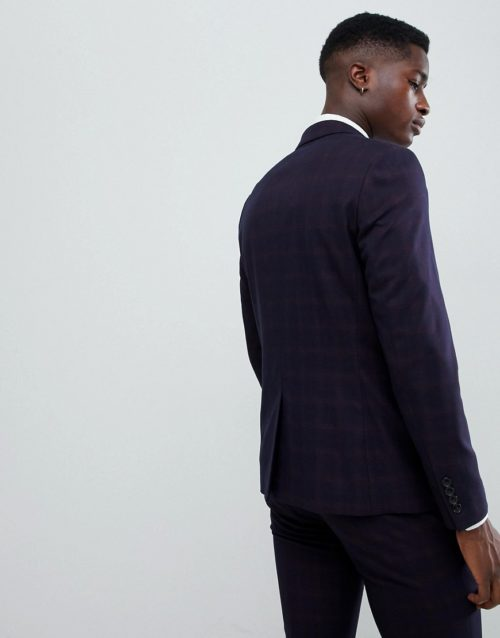 Burton Menswear skinny fit suit jacket in navy and red check