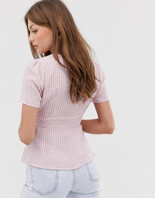 Fashion Union tie front blouse in gingham-Pink